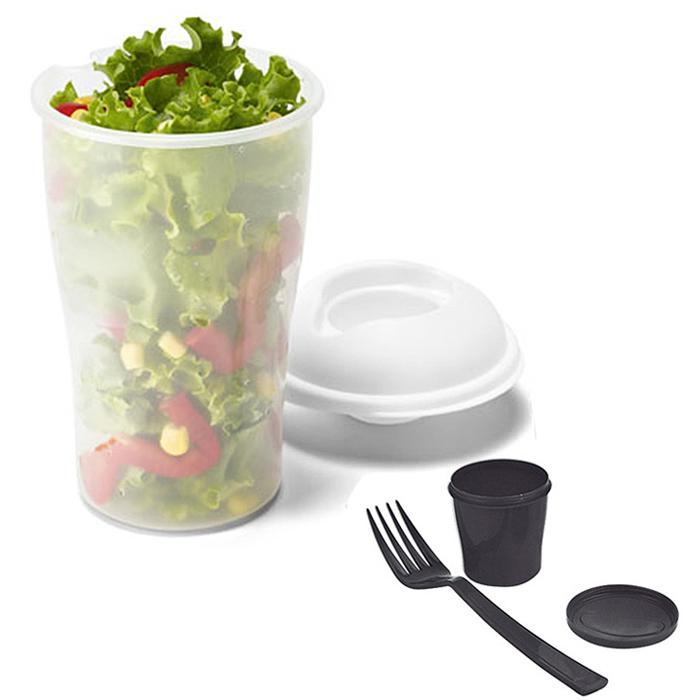 Copo Para Salada Saladeira Fitness Com Talher Plástico 700ml