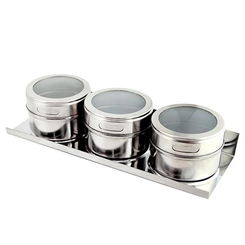 Porta Temperos e Condimentos com Imã na Base em Aço Inox 3 Potes e 1 Suporte