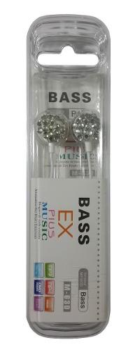 Fone Estéreo Bass Ex Plus Music Branco E Rosa Strass
