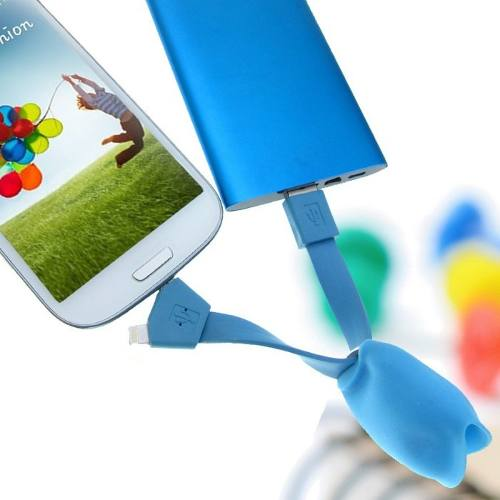Cabo Usb 2 Em 1 Iphone V8 Samsung Urso Várias Cores