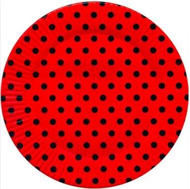 Prato Descartável - Poá Vermelho e Preto 15cm c/ 8 unid