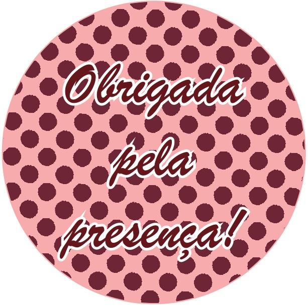 Adesivo p/ Lembrancinha - Redondo - Obrigada pela Presença - Rosa e Marrom c/ 20 unid