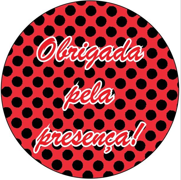 Adesivo p/ Lembrancinha - Redondo - Obrigada pela Presença - Vermelho e Preto c/ 20 unid