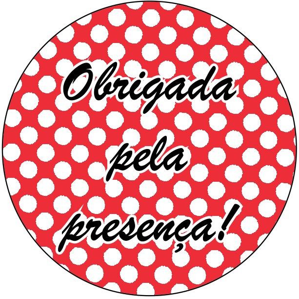 Adesivo p/ Lembrancinha - Redondo - Obrigada pela Presença - Vermelho e Branco c/ 20 unid