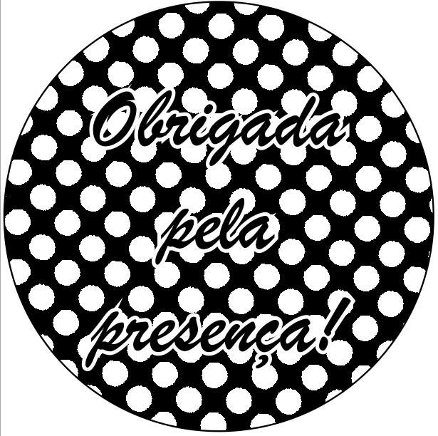 Adesivo p/ Lembrancinha - Redondo - Obrigada pela Presença - Preto e Branco c/ 20 unid