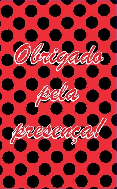 Adesivo p/ Lembrancinha - Retangular - Obrigado pela Presença - Poá Vermelho e Preto c/ 20 unid