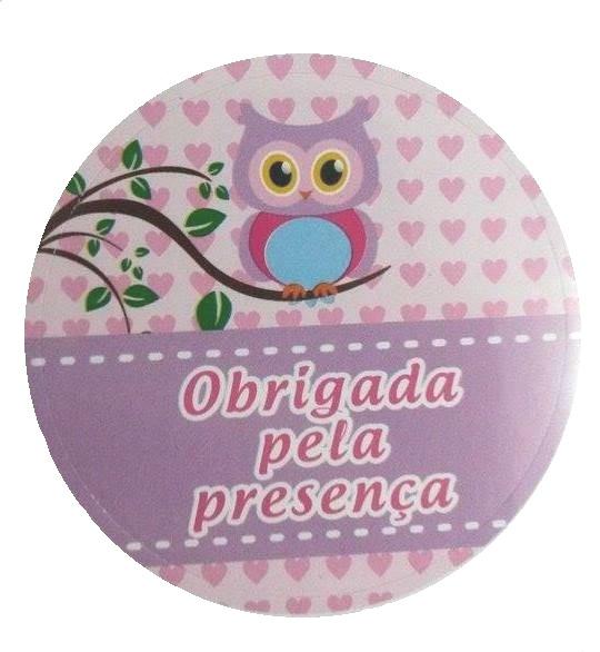 Adesivo p/ Lembrancinha - Redondo - Obrigado Pela Presença - Corujinha c/ 20 unid