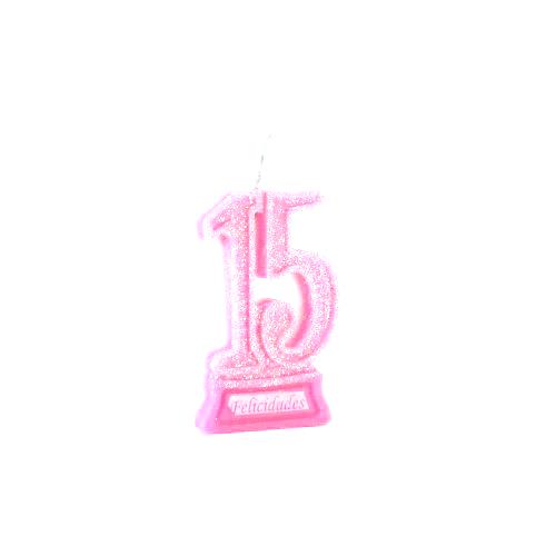 Vela de Aniversário 15 anos Glitter Rosa