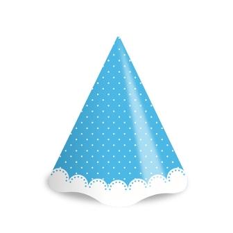 Chapéu de Aniversário Poá Azul e Branco