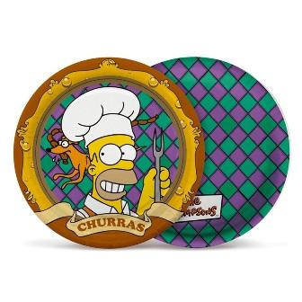 Prato de Papel Cartão - Os Simpsons - 8 uni. - 21 cm