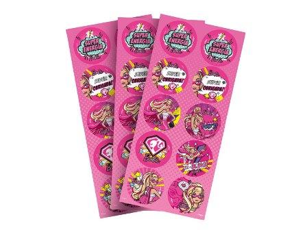 Adesivo Decorativo Redondo - Barbie Super Princesa - c/ 3 unid.