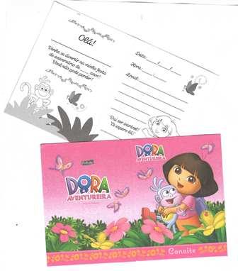 Convite de Aniversário Dora a Aventureira - Rosa c/8 unid.