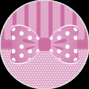 Adesivo Decorativo Redondo Cromos Laço Rosa c/ 20 unid.