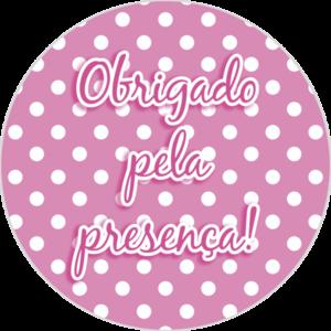 Adesivo p/ Lembrancinha - Redondo - Obrigada pela Presença - Rosa e Branco c/ 16 unid.