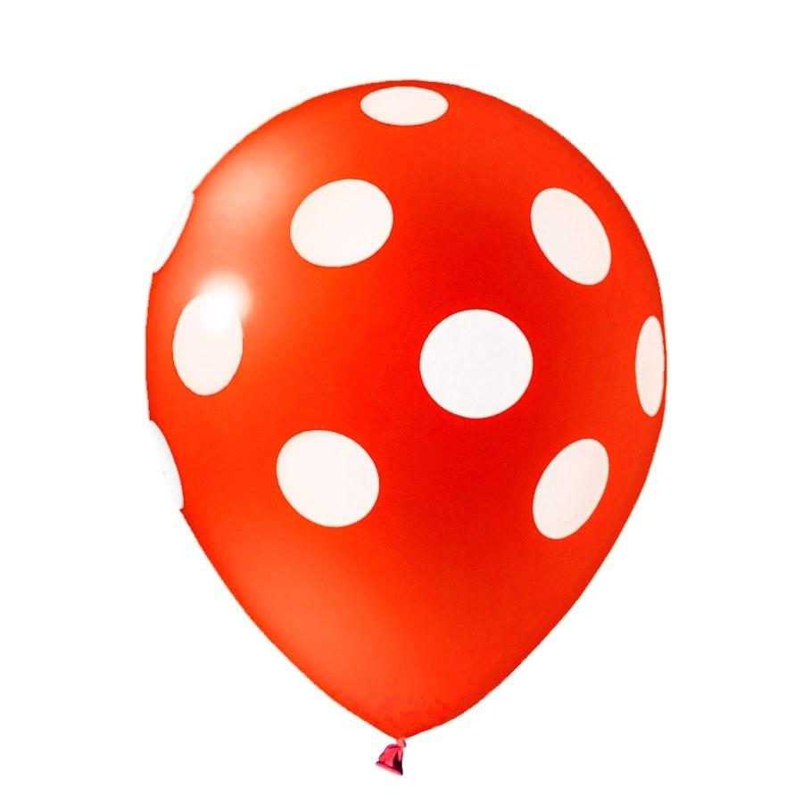 Balão De Látex Poá Vermelho e Branco
