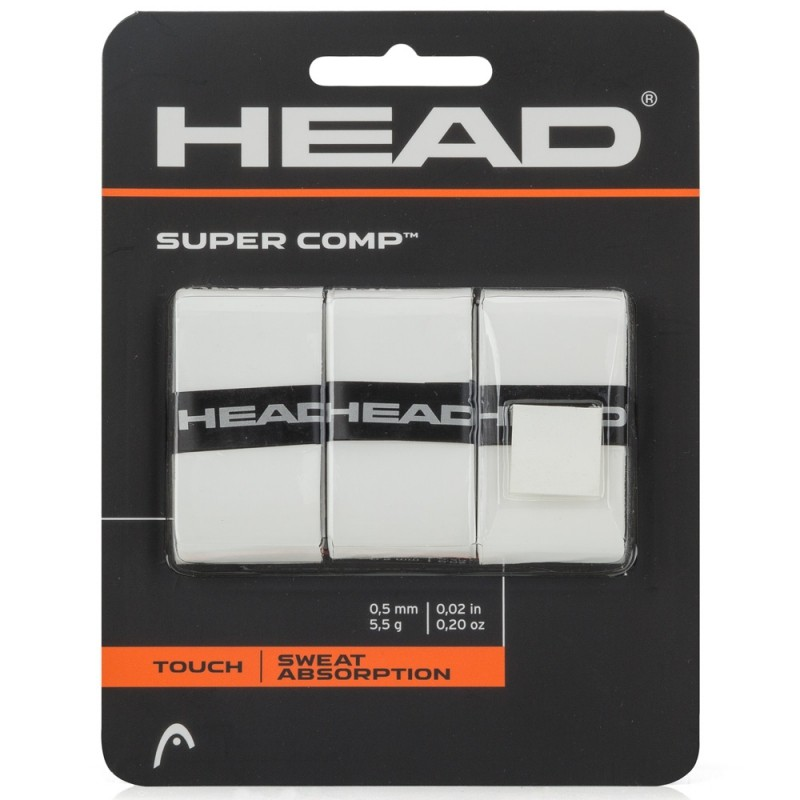 Overgrip Head Super Comp branco para raquete de tenis