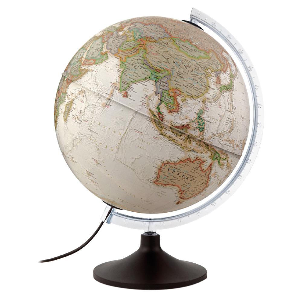 Globo Terrestre - Físico e Político -  National Geographics Carbon Executive - 110v - Iluminado - 30CM - Tecnodidattica