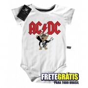 Body de Rock Bebê ACDC - White