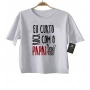 Camiseta de Rock Infantil -  Eu curto Rock com o papai - White