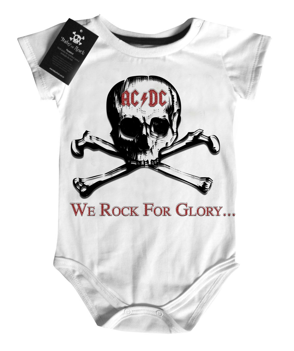 Body de Rock Bebê ACDC SKULL - White - BABY MONSTER ... 9d7a5c1a5c8