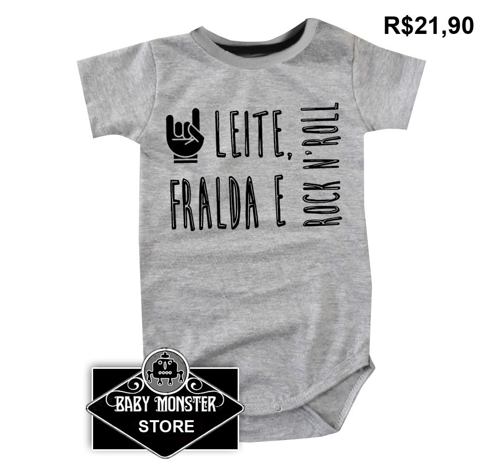36740af4517b0 Body Rock - Leite Fraldas e Rock n Roll - GREY - BABY MONSTER