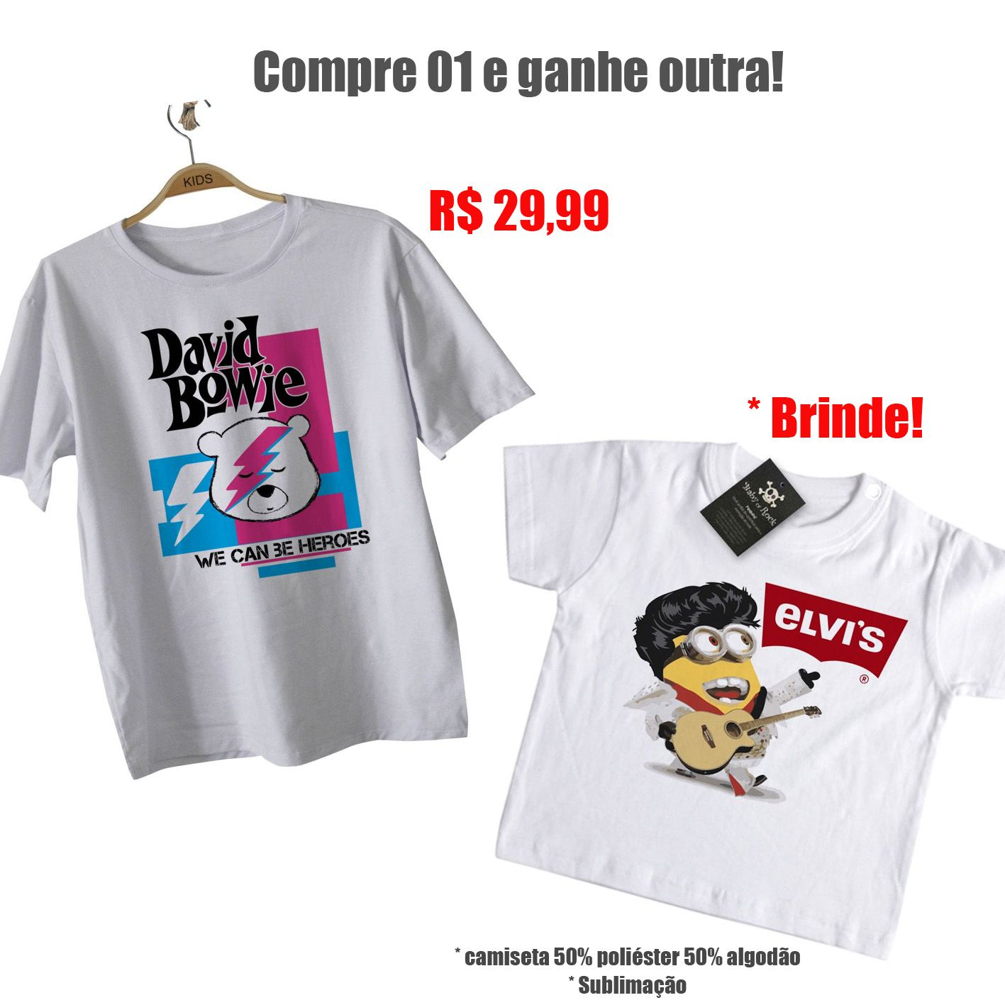 0e05237a88732 Camiseta Promo David Bowie + Elvis Minions - White - BABY MONSTER