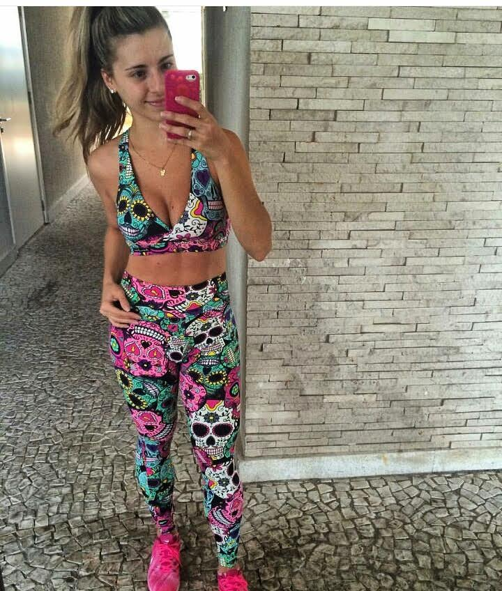 Conjunto Caveira Mexicana   - Cintura Carioca Moda Fitness