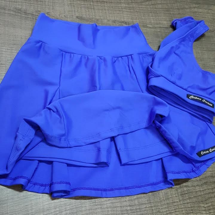 Saia e Top Azul Caneta  - Cintura Carioca Moda Fitness