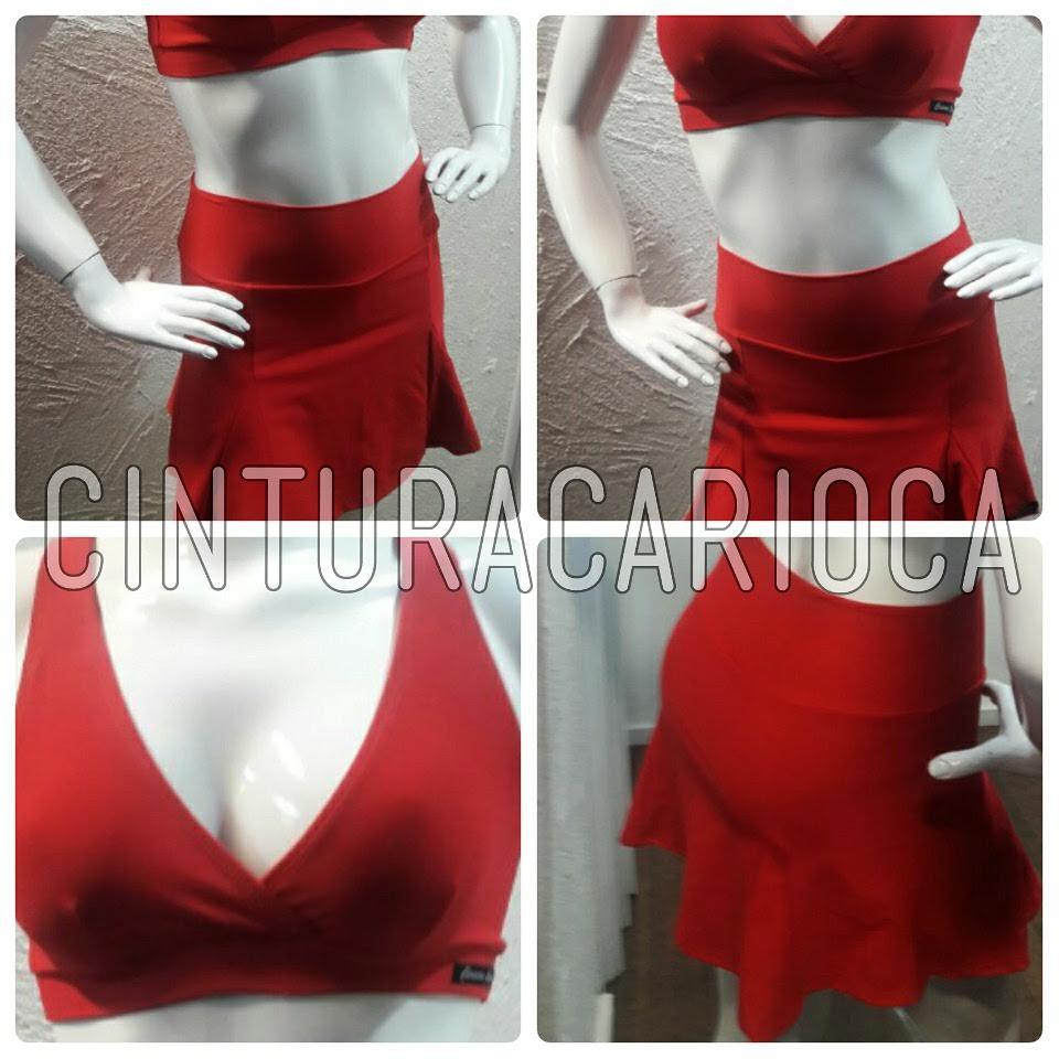 Conjunto Saia e Top Fitness Vermelho  - Cintura Carioca Moda Fitness