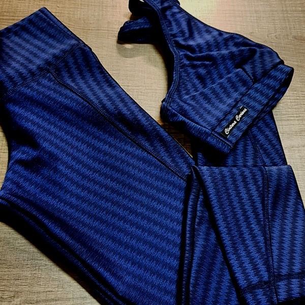Conjunto Fitness Legging e Top  IKAT Azul Escuro  - Cintura Carioca Moda Fitness