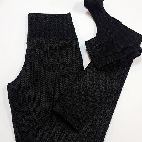 Conjunto legging e Top Maquinetado preto   - Cintura Carioca Moda Fitness