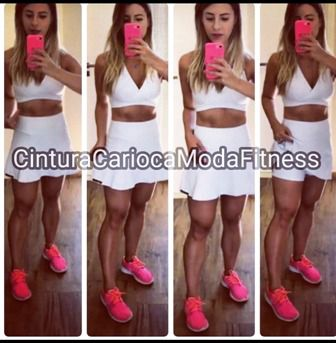 Conjunto saia e Top Branco  - Cintura Carioca Moda Fitness