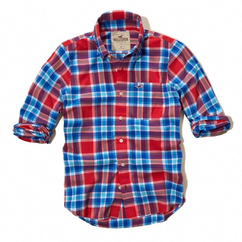 Camisa Xadrez Hollister Manga Longa