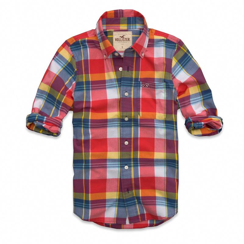 2c69f7adfb Camisa Xadrez Hollister Manga Longa