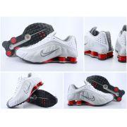 Nike Shox R4 Masculino - Branco,Prata e Vermelho