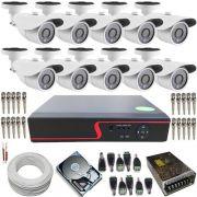 2a86d3443fd2f Sistema de vigilância 10 Câmeras Infravermelho Ircut AHD 1.3 Megapixel + DVR  16 Canais Multi HD