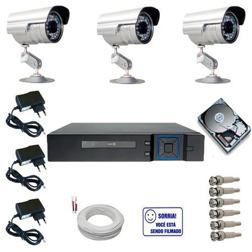 6f91edd80676e Kit 3 Câmeras de Segurança Infravermelho 1000 linhas com Dvr Multi HD 4  canais