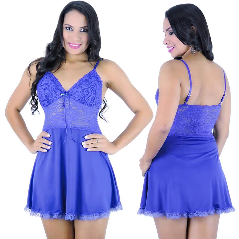 Camisola Azul em Liganete e Renda com Calcinha Jamile