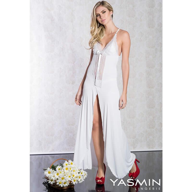 Camisola Longa Branca em Liganete e Renda  com Calcinha Eclipse - YMEC02