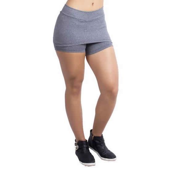 Short Saia Cinza Com Tapa Bumbum Fitness Academia Carla - KSF131