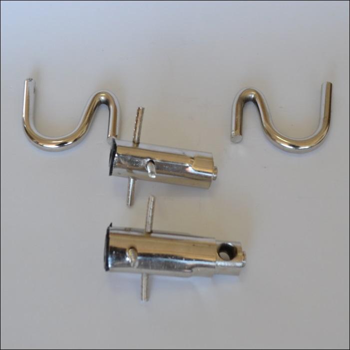 Par de ganchos embutidos estilo batom em aço inoxidável