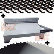 Kit Encadernadora Perfuradora P/ Encadernação A4 / Oficio 15 Folhas + 100 Capas e 100 Espirais