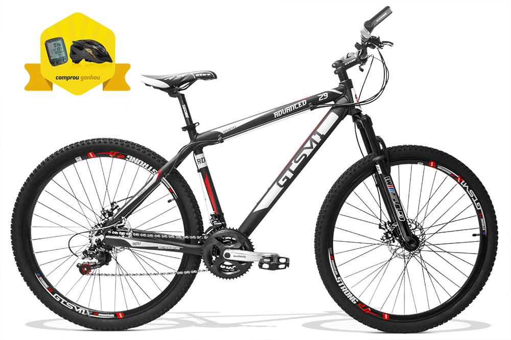 Bicicleta gtsm1 Advanced New aro 29 freio a disco kit shimano 21 marchas + Brinde Ciclo Computer + Capacete