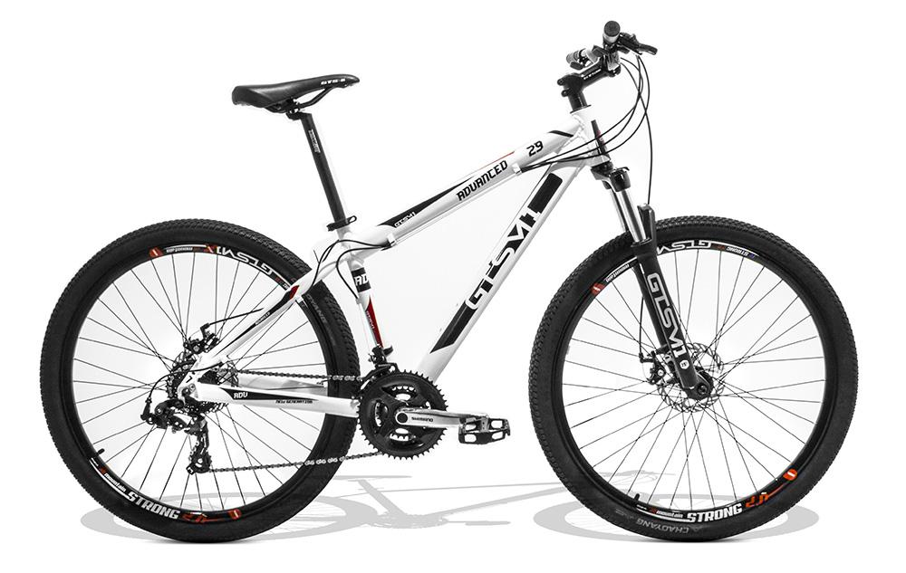 Bicicleta GTSM1 Advanced New Shimano k7 aro 29 freio a disco suspensão com trava