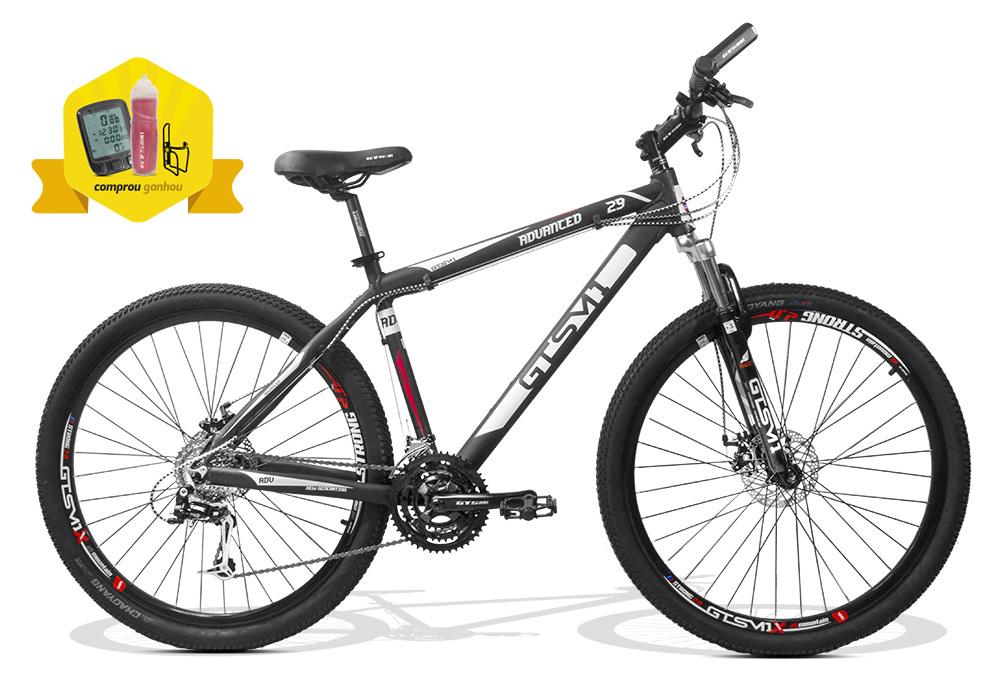 Bicicleta GTSM1 MTB Advanced New TX aro 29 freio a disco 24 marchas + Brindes Ciclo Computador, Squeeze e Suporte