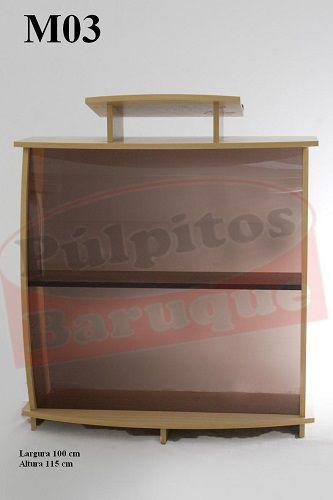 Púlpito de Madeira com Acrílico (100 cm X 115 cm) - Cor Carvalho