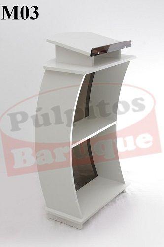 Púlpito de Madeira com Acrílico (67 cm X 115 cm) - Cor Branca
