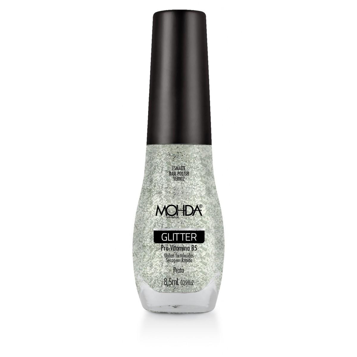 Esmalte Mohda Glitter - Prata  - E-Mohda