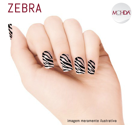 Tattoo para unhas Mohda - Zebra  - Maria Pomposa