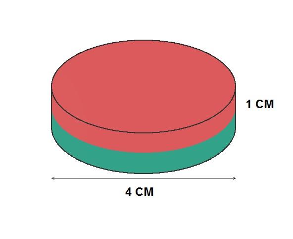 Imã de Neodímio Disco N35 40x10 mm  - Polo Magnético